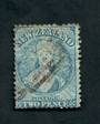 NEW ZEALAND 1862 Full Face Queen 2d Blue. Perf 13. Watermark NZ. Advanced plate wear. Postmark just touching the face. Light. Pe