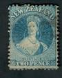 NEW ZEALAND 1862 Victoria 1st Full Face Queen 2d Blue. Watermark Large Star. Perf 12½. - 39066 - Used
