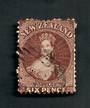 NEW ZEALAND 1862 Full Face Queen 6d Brown. Perf. No faults. Attractive postmark but does touch the face. A few damaged perfs. -