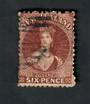NEW ZEALAND 1862 Full Face Queen 6d Brown. Perf. No faults. Postmark a little heavy but off the face. - 39074 - Used