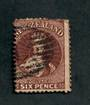 NEW ZEALAND 1862 Full Face Queen 6d Brown. Excellent postmark but spoiled by a blunt corner. - 39075 - Used