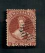 NEW ZEALAND 1862 Full Face Queen 6d Brown. Perf 12½. Watermark NZ. A few poor perfs. Attracive postmark even tho it touches the