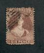 NEW ZEALAND 1862 Full Face Queen 6d Dull Red-Brown. Perf 12½. Watermark Large Star. Thin Perf faults. Cat val by CP with faults