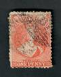 NEW ZEALAND 1862 Full Face Queen 1d Red. Perf 12½. Watermark Large Star. Some munted perfs do not detract but unpleasant postmar