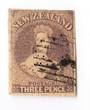 NEW ZEALAND 1855 Full Face Queen 3d Brown-Lilac. Three good margins. Touching right top. - 39155 - Used