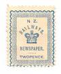 NEW ZEALAND 1890 Railway Newspapers 2d Blue. - 39165 - Mint