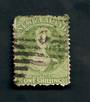 NEW ZEALAND 1862 Victoria 1st Full Face Queen 1/- Green with Postmark 0 over the face. - 39217 - Used