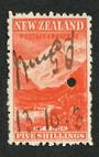 NEW ZEALAND 1898 Pictorial 5/- Red on Cowan paper. Watermark Sideways. Fiscally used. - 39221 - Fiscal