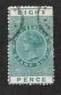 NEW ZEALAND 1880 Victoria 1st Long Type Fiscal 8d Green with superb corner circular date stamp. Small pinhole. - 39228 - VFU