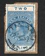 NEW ZEALAND 1882 Long Type Postal Fiscal 2/- Blue. On piece with genuine cancel. - 39270 - FU