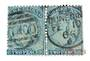 NEW ZEALAND 1862 Full Face Queen 2d Pale Blue. Plate 1. Worn. Pair. Side perfs cut into. But useful for replating. - 39423 - Use
