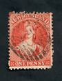 NEW ZEALAND 1862 Full Face Queen 2d Carmine-Vermilion. Light postmark impinges on the face. - 39520 - Used