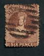 NEW ZEALAND 1862 Full Face Queen 6d Brown. Cancel bars but frames the face. - 39990 - Used