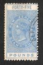 NEW ZEALAND 1880 Victoria 1st Long Type Fiscal £45 Blue with beautiful circular DEPT cancel. Unpunched. Superb item. - 4100 - VF