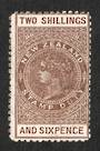NEW ZEALAND 1882 Long Type Postal Fiscal 2/6 Brown. Deeper colour. - 4117 - MNG