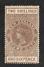 NEW ZEALAND 1882 Long Type Postal Fiscal 2/6 Brown. Screwdriver flaw on neck. - 4118 - MNG