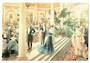Coloured postcard of fine drawing of The Ritz Palm Court London. - 43753 - Postcard