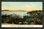 Coloured postcard of Auckland Harbour from the Domain. In fact it is from Point Erin. - 45472 - Postcard