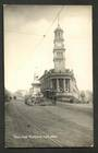 Real Photo by Radcliffe of Town Hall, Auckland showing statue of Sir George Grey and Tram. - 45493 - Postcard