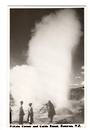 Real Photograph by N S Seaward of Pohutu Geyser and Guide Rangi. - 46261 - Postcard