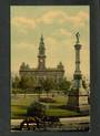 Coloured postcard of Townhall and Dr Burns Memorial Dunedin. - 49171 - Postcard