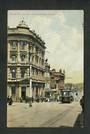 Coloured postcard of Princes Street showing AMP Buildings Dunedin. Tram prominent. - 49238 - Postcard