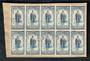 NEW ZEALAND 1950 Canterbury Centennial 3d. Block of 10 on piece. Light cds. - 50218 - FU
