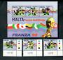 MALTA 1998 World Cup Football Championships, France. Set of 3 and miniature sheet. - 50477 - UHM