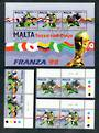 MALTA 1998 World Cup Football Championships, France. Set of 3 and miniature sheet. - 50478 - VFU
