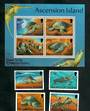 ASCENSION 1994 Green Turtles. Set of 4 and miniature sheet. - 51126 - UHM