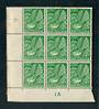 NEW ZEALAND 1935 Pictorial ½d Green. Block of 9 including Row 8/1 Clematis Flaw and Row 8/3 Flaw beneath the ½d . Toning on the