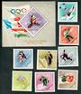 HUNGARY 1967 Winter Olympics. Set of 8 and miniature sheet. - 52391 - UHM