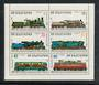 BULGARIA 1988 Centenary of the State Railways. Sheetlet of 6. - 52399 - UHM