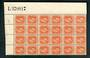 NEW ZEALAND 1915 Geo 5th Definitive 1½d Orange-Brown. Top right corner blocl of 24 showing the sheet number L370917. - 52429 - M