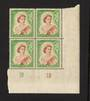 NEW ZEALAND 1953 Elizabeth 2nd Definitive 9d Brown and Green. Plate 1B 1B. Block of 4. - 55676 - UHM