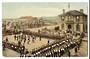 Coloured Postcard of Levin. Soldiers on Parade in front of the Post Office 30/10/1917. Obviosly the victory parade. - 69536 - Po