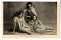 Postcard of the Raweis. USA advertising card a trio of Maoris presenting