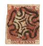 GREAT BRITAIN 1841 1d Red- Brown from black plate 1b. Imperf. Almost four margins. Maltese cross cancel. Letters SG. - 70049 - U