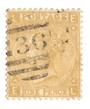 GREAT BRITAIN 1865 Definitive 9d Straw. Light postmark Oval 36. It does obscure the face. Excellent perfs. - 70249 - Used