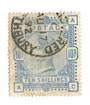 GREAT BRITAIN 1883 10/- Pale Ultramarine. Well centred. Postmark REGISTERED TILBURY cds. Good perfs. Letters CAAC. - 70318 - FU
