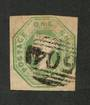 GREAT BRITAIN 1847 1/- Pale green. Embossed Cut square. 3 good margins one just touching. Pmk 504 in oval typical. - 70398 - FU