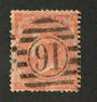 GREAT BRITAIN 1862 4d Bright Red. A few nibbled perfs. Small thin. Postmark 91 in circle in bars. - 70415 - Used