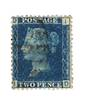 GREAT BRITAIN 1858 2d Blue. Die 2. Perf 14. Wmk Large Crown. Thin lines. Centred west. Letters DIID. - 70421 - Used