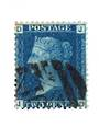 GREAT BRITAIN 1858 2d Deep Blue.Thin Lines.Plate 14. Letters DJJD. Dull corner. Heavy postmark. - 70423 - Used