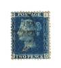 GREAT BRITAIN 1858 2d Deep Blue.Thin Lines.Plate 15. Letters BPPB. Well off centre. Very light cancel. - 70424 - VFU