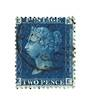 GREAT BRITAIN 1858 2d Deep Blue.Thin Lines.Plate 15.  Letters EKKE. Centred north west. - 70425 - FU