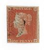 GREAT BRITAIN 1841 1d Deep Red-Brown. Letters QF. Very light postmark. Three margins. - 70428 - Used