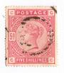 GREAT BRITAIN 1883 Victoria 1st Definitive 5/- Rose. Some perfs cut. Others dull. - 70433 - Used