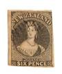 NEW ZEALAND 1855 Full Face Queen 6d Black-Brown. Mostly excellent  margins, just touching. Light postmark. Very attractive. - 70