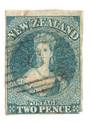 NEW ZEALAND 1855 Full Face Queen 2d Blue. Watermark Large Star. Lightly Blued Paper. Superb light cancel. Crease at top left and